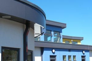 Netherfield Primary School: Aluminium fascia & soffit with Kwik fix planks