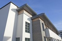 Empress Heights, Southampton – Complete Aluminium Eaves System with Ovoid Bullnose Fascia with Discrete Fix Soffit Panels and Contemporary Rainwater Pipes
