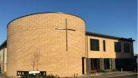Bingham Methodist Church: Meridian Coping Curved to 2-Radii: Aluminium Fascia Soffit: Monocoque Support: Hidden Gutter & Contemporary Diameter Rainwater Pipe