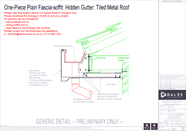 One piece hidden gutter with plain fascia and soffit