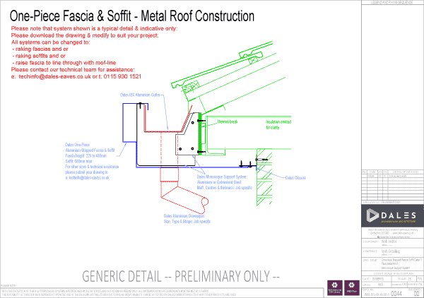 One piece stepped fascia/soffit