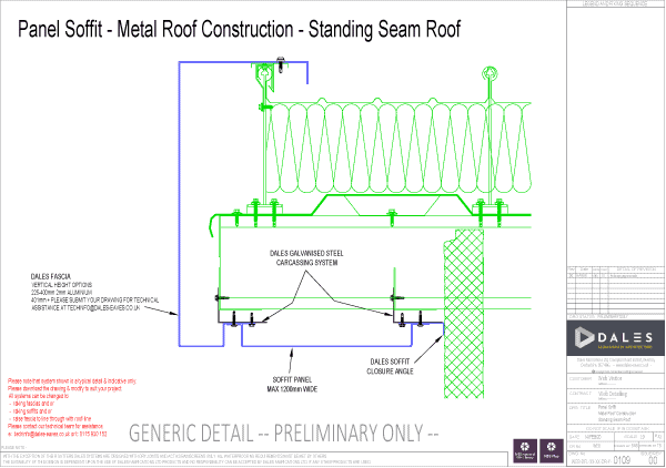 Verge – Standing seam roof panel soffit