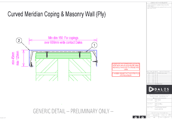 Curved Meridian coping with masonry wall (ply)