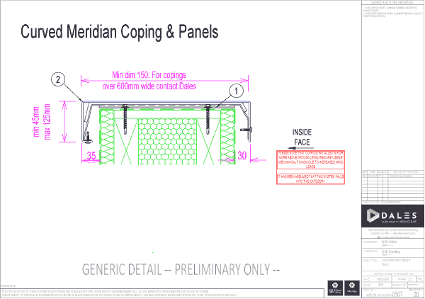 Curved Meridian coping and panels