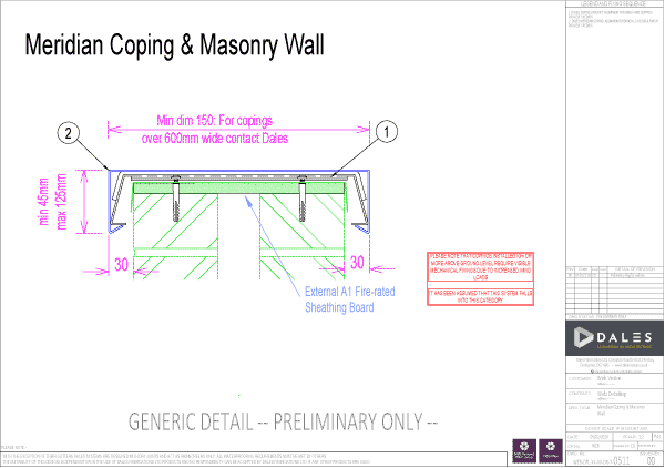 Aluminium coping with masonry wall