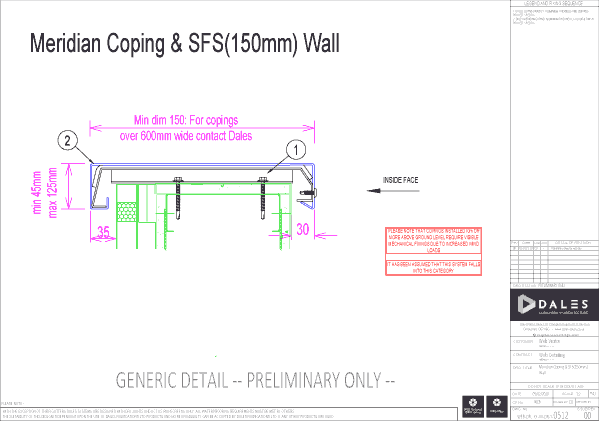 Meridian coping with 150mm SFS wall