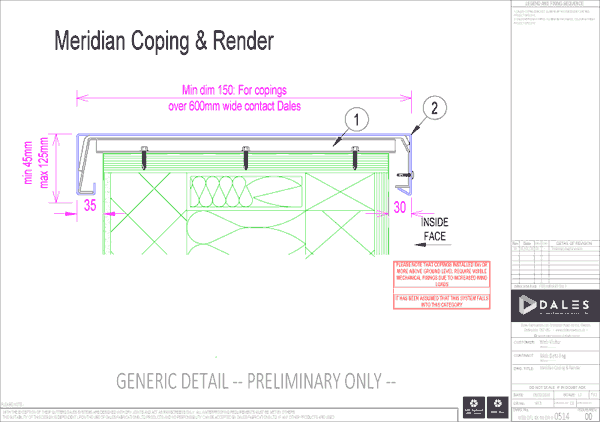 Meridian coping with render