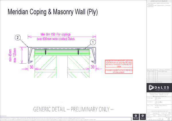 Meridian coping with masonry wall (ply)