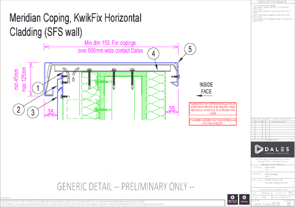 Meridian coping with KwikFix horizontal cladding (SFS wall)