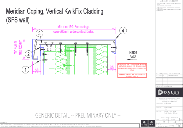 Meridian coping with KwikFix vertical cladding (SFS wall)