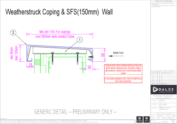 Weatherstruck coping with 150mm SFS Wall