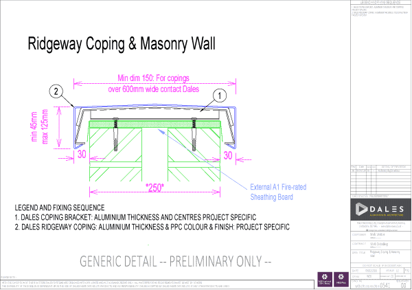 Ridgeway Aluminium Coping with masonry wall