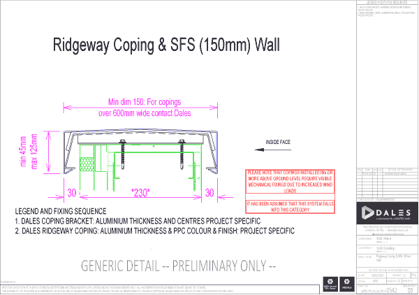 Ridgeway coping with 150mm SFS Wall