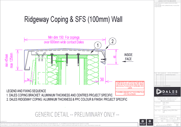 Ridgeway coping with 100mm SFS Wall